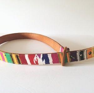 Accessories - Multi-colored Leather Belt Textile Ethnic Design